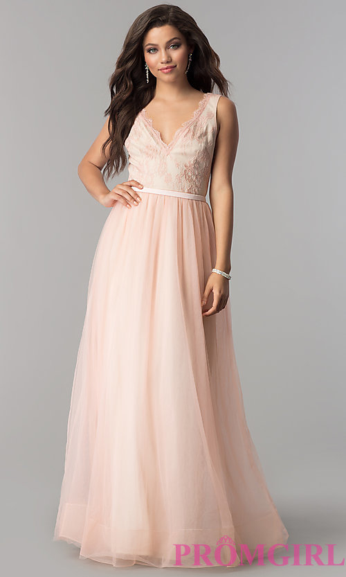 Image of lace-bodice long tulle v-neck prom dress. Style: LP-24533 Detail Image 3