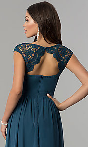 Image of long cap-sleeve prom dress with lace embellishments. Style: LP-23998 Detail Image 2