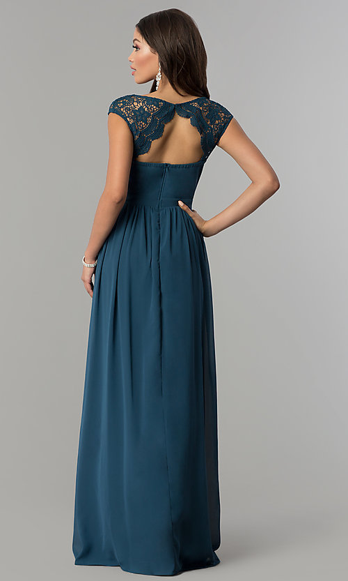 Image of long cap-sleeve prom dress with lace embellishments. Style: LP-23998 Back Image