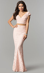Image of long two-piece lace prom dress with cap sleeves. Style: LP-90084 Detail Image 3