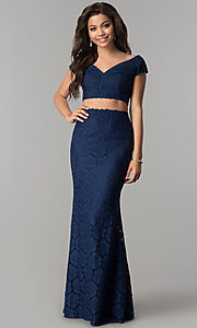 Long Two-Piece Lace Prom Dress with Cap Sleeves