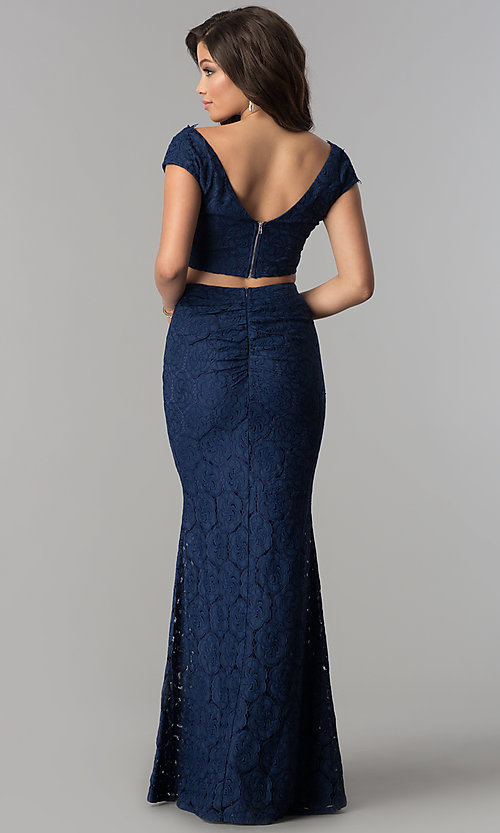 Image of long two-piece lace prom dress with cap sleeves. Style: LP-90084 Back Image