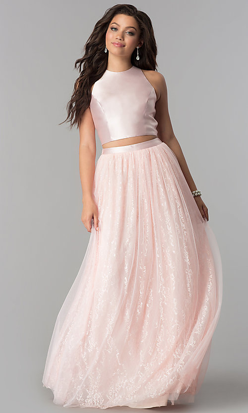 Image of two-piece Tulle prom dress with long lace skirt. Style: LP-97025 Front Image