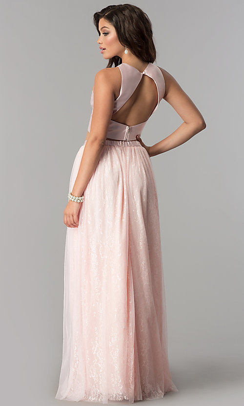 Image of two-piece Tulle prom dress with long lace skirt. Style: LP-97025 Back Image