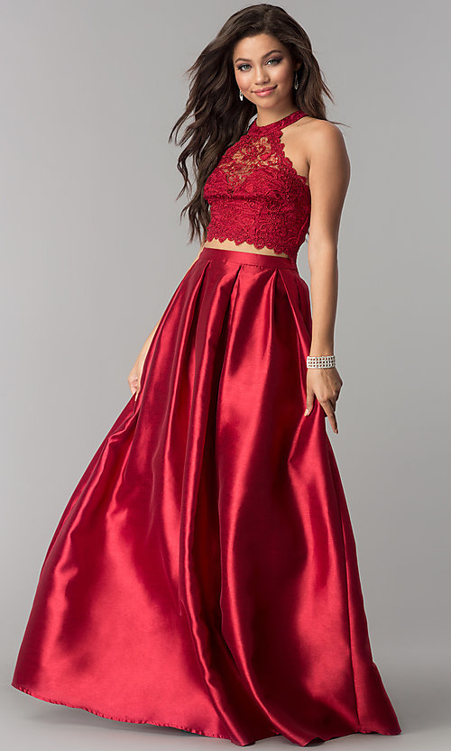 Image of two-piece high-neck lace-top long prom dress. Style: LP-97030 Front Image
