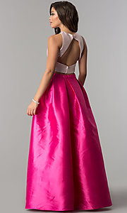 Image of long satin two-piece prom dress with pockets. Style: LP-97012 Back Image