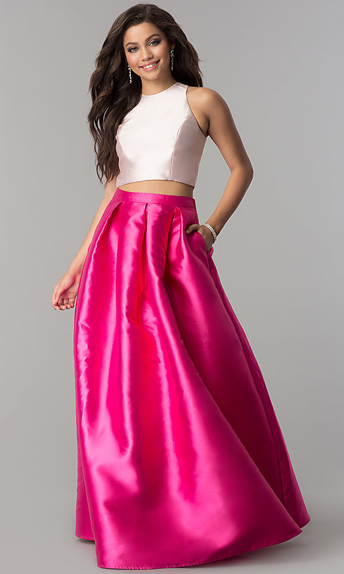 Image of long satin two-piece prom dress with pockets. Style: LP-97012 Front Image