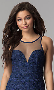 Image of long illusion-sweetheart embroidered navy prom dress. Style: LP-24662 Detail Image 1