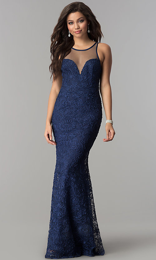 Image of long illusion-sweetheart embroidered navy prom dress. Style: LP-24662 Front Image