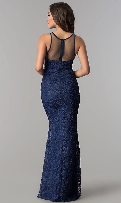 Image of long illusion-sweetheart embroidered navy prom dress. Style: LP-24662 Back Image
