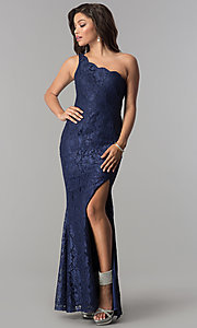 One-Shoulder Long Lace Prom Dress with Scallops