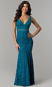 Image of long lace v-neck prom dress in jade blue. Style: LP-24368 Front Image