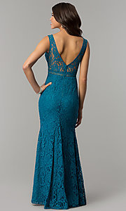 Image of long lace v-neck prom dress in jade blue. Style: LP-24368 Back Image