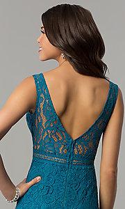 Image of long lace v-neck prom dress in jade blue. Style: LP-24368 Detail Image 2