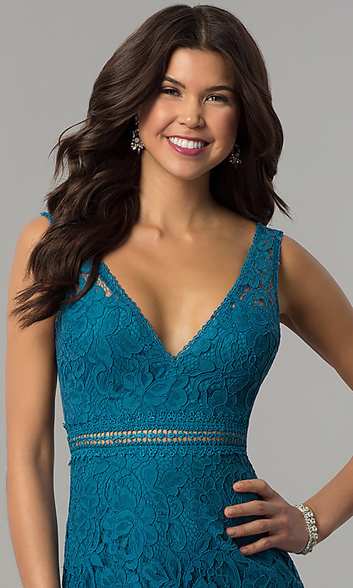 Image of long lace v-neck prom dress in jade blue. Style: LP-24368 Detail Image 1