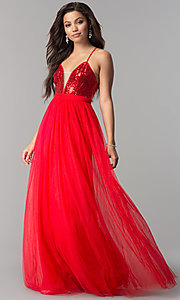 Sequin V-Neck Bodice Long Tulle Prom Dress