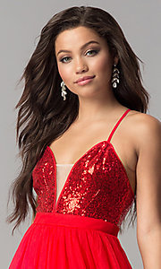 Image of sequin v-neck bodice long tulle prom dress. Style: LP-24760 Detail Image 1