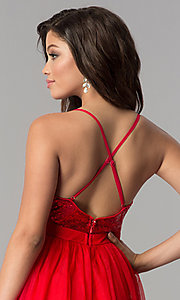Image of sequin v-neck bodice long tulle prom dress. Style: LP-24760 Detail Image 2