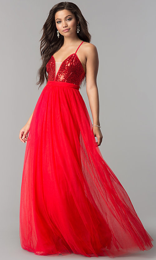 Image of sequin v-neck bodice long tulle prom dress. Style: LP-24760 Front Image