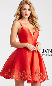 Fit-and-Flare Homecoming Dress with a Laser Cut Hem