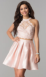 Image of lace high-neck racer-top two-piece homecoming dress. Style: LP-97035 Front Image