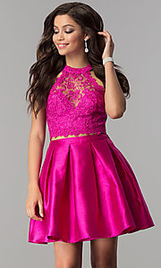 Image of lace high-neck racer-top two-piece homecoming dress. Style: LP-97035 Detail Image 3