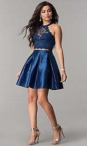 Image of lace high-neck racer-top two-piece homecoming dress. Style: LP-97035 Detail Image 2