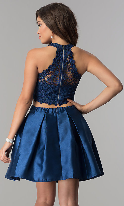 Image of lace high-neck racer-top two-piece homecoming dress. Style: LP-97035 Back Image