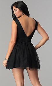 Image of semi-formal short black babydoll homecoming dress. Style: LP-24878 Back Image