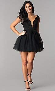 Image of semi-formal short black babydoll homecoming dress. Style: LP-24878 Detail Image 2