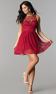 Image of lace-bodice semi-formal short homecoming dress. Style: LP-27267 Detail Image 1