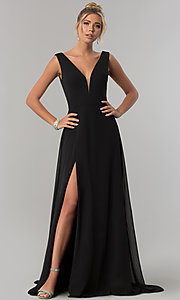 Image of long v-neck chiffon formal prom dress with side slit. Style: ZG-PL-32701 Front Image