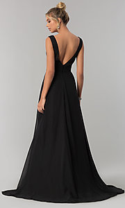 Image of long v-neck chiffon formal prom dress with side slit. Style: ZG-PL-32701 Back Image