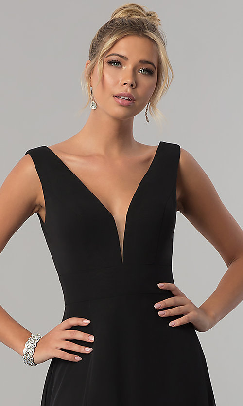 Image of long v-neck chiffon formal prom dress with side slit. Style: ZG-PL-32701 Detail Image 1