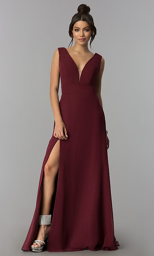 Image of long v-neck chiffon formal prom dress with side slit. Style: ZG-PL-32701 Detail Image 2