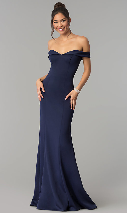 6c6645e0bd3a Image of open-back long off-the-shoulder mermaid prom dress. Style