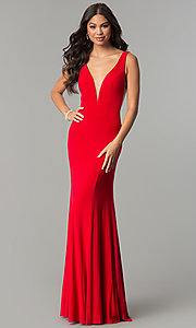 Long Deep-V-Neck Sheer-Side Prom Dress with Train