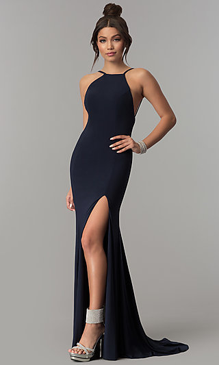 Floor-Length Open-Back Prom Dress by PromGirl