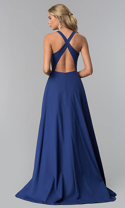 Image of v-neck long prom dress with crossing back straps. Style: ZG-PL-32747 Back Image