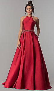 Image of high-neck long halter satin prom dress by PromGirl. Style: ZG-PL-32748 Detail Image 3