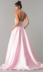 Image of high-neck long halter satin prom dress by PromGirl. Style: ZG-PL-32748 Back Image
