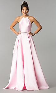 Image of high-neck long halter satin prom dress by PromGirl. Style: ZG-PL-32748 Front Image