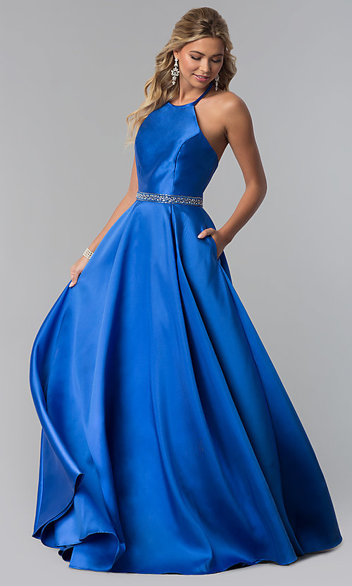 Image of high-neck long halter satin prom dress by PromGirl. Style: ZG-PL-32748 Detail Image 2