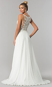 Image of long faux-wrap ivory chiffon prom dress by PromGirl Style: ZG-PL-32750 Back Image