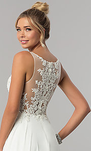 Image of long faux-wrap ivory chiffon prom dress by PromGirl Style: ZG-PL-32750 Detail Image 2