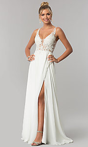 Image of long faux-wrap ivory chiffon prom dress by PromGirl Style: ZG-PL-32750 Front Image