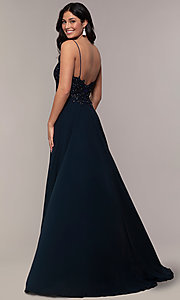 Image of long v-neck open-back chiffon prom dress by PromGirl. Style: ZG-PL-32754 Detail Image 4