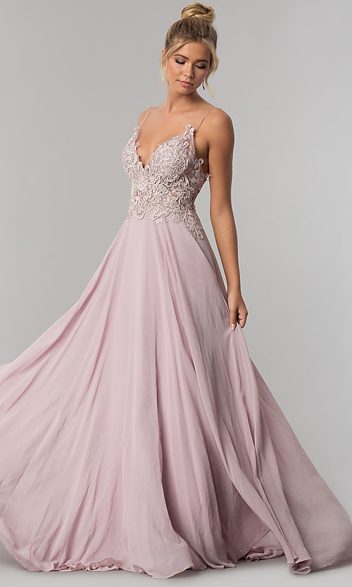 007033fb664fe Image of long v-neck open-back chiffon prom dress by PromGirl. Style