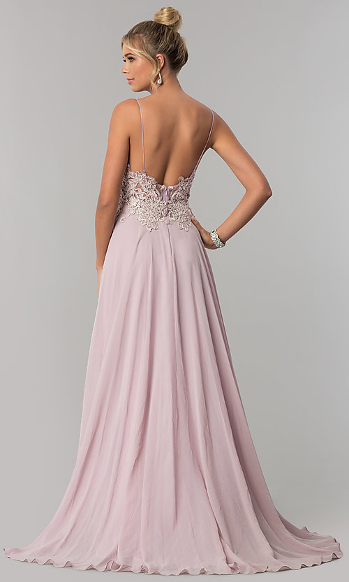 Image of long v-neck open-back chiffon prom dress by PromGirl. Style: ZG-PL-32754 Back Image