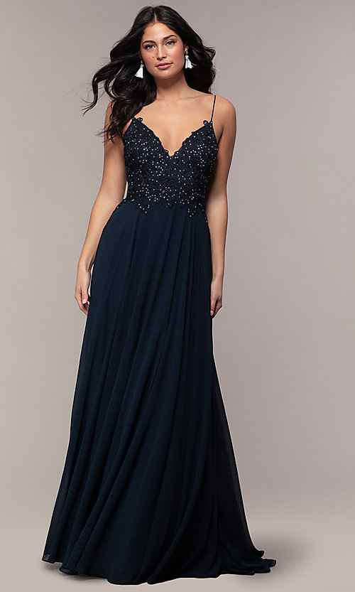 Image of long v-neck open-back chiffon prom dress by PromGirl. Style: ZG-PL-32754 Detail Image 3